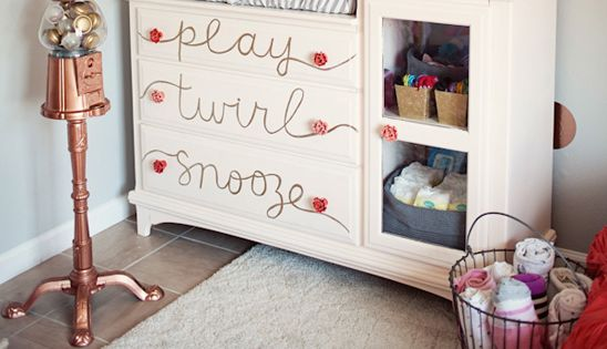 cute little girls room... like the dresser, and the framed hair do-dads