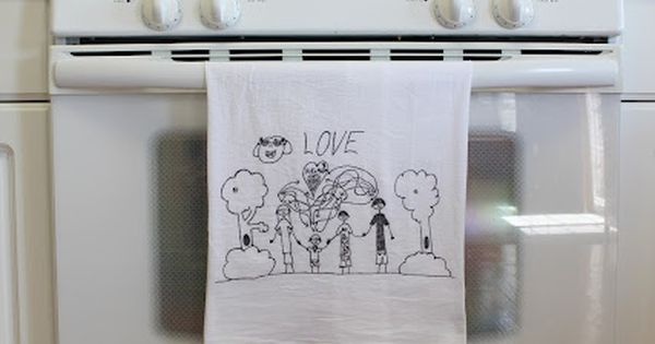 Turn Children's Art Into Tea Towels - flour sack towel, black ultra