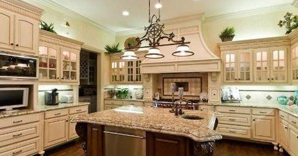 marvelous big kitchen designs | Marvelous kitchen with a nice big granite-top island ...