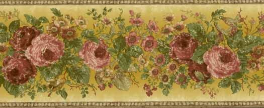 York Wallcoverings Border Document Floral Border In Mint Green Dark Green Blue Green Peach Pink Rose Yellows