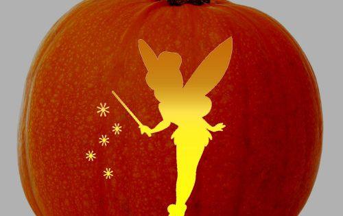 Tinkerbell fairy stencil free pumpkin carving stencil for How to carve tinkerbell in a pumpkin