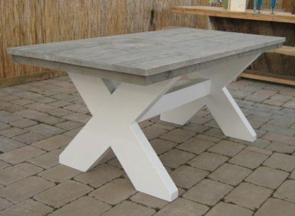tafel met wit. De witte poten en greywash blad maken van tafel ...
