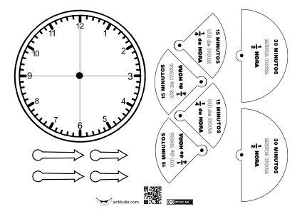 Se trata de un recortable en el cu l se han representado for Cuanto es un cuarto de hora