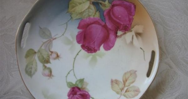 Bavarian China Manufacturers Bavarian China Cake Plate With American Beauty Roses Handle Cutouts Antique China Dishes Cake Plates Plates