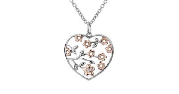 Hot Diamonds Shades of Spring Open Heart Pendant 18ct Rose Gold Vermeil
