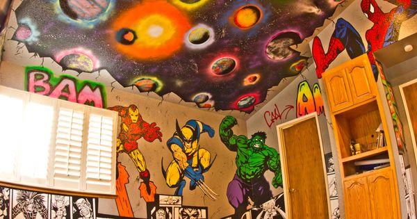 Superhero Room Graffiti Walls With Marvel And Dc