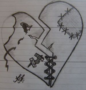 Shattered Heart Stitching Broken Heart Drawings