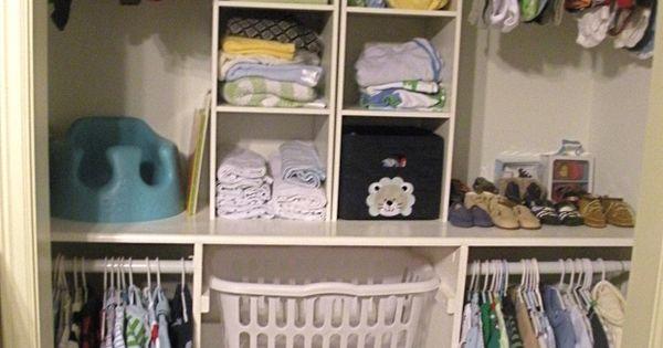 Kids closet ideas. Like the laundry basket idea.