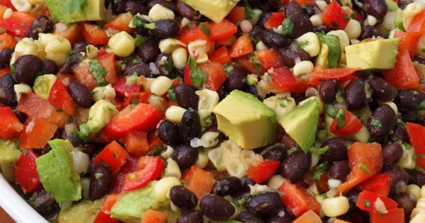 Black bean salad with corn, red peppers, avocado, and lime-cilantro vinaigrette Healthy
