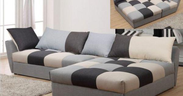 Canap d 39 angle en tissu convertible romane gris angle droit meubles accessoires for Canape angle droit tissu lille