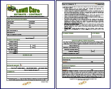 Free Printable Lawn Service Contract Form Generic Lawn Care
