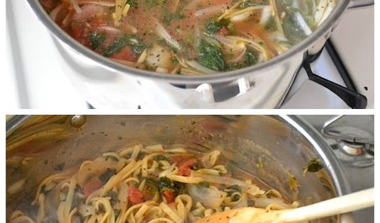 #ItalianWonderpot: 4 cups vegetable broth 2 Tbsp olive oil 12 oz. fettuccine