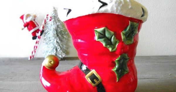 Ceramic Santa Boot Christmas Decoration By