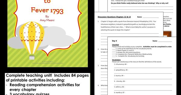 essay questions for fever 1793 Buy lesson plans fever 1793: read 1 kindle store reviews - amazoncom.