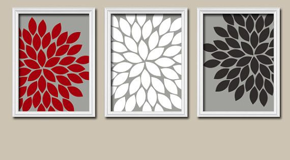 RED BLACK Gray Wall Art, CANVAS Or Prints, Bedroom