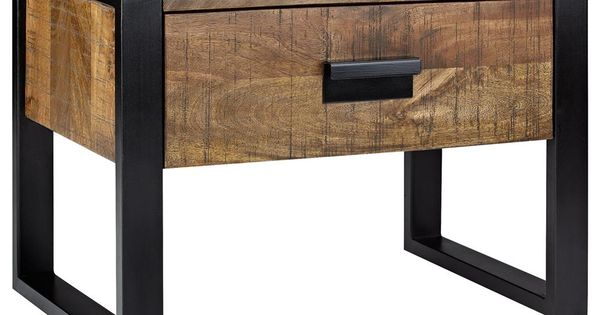 Industrial Wood And Metal Nightstand: Wood Nightstand With Metal