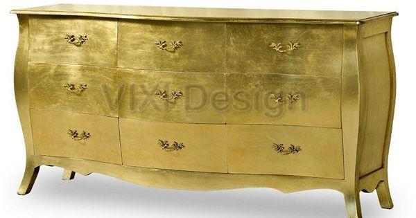 Best Big Dresser Chest Gold Leaf Contemporary Buy Black 640 x 480