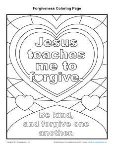 Jesus Teaches Me To Forgive Printable Coloring Page Sunday