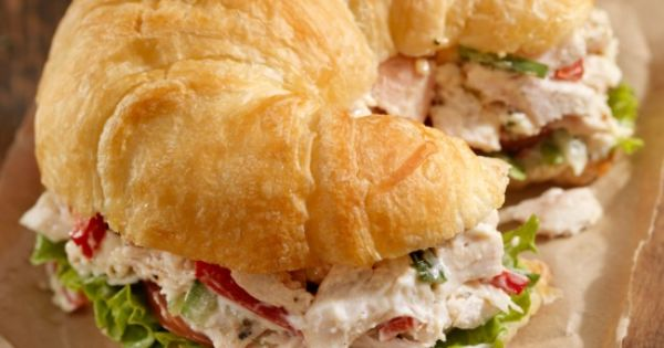 Southern Style Chicken Salad sandwich with Red Grapes and Pecans