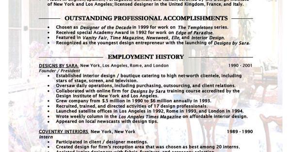 assistant interior design intern resume template