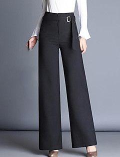 34 09 Women S Street Chic Plus Size Straight Wide Leg Pants Solid Colored Black Work Estilo Chic De Calle Pantalones Pantalones De Vestir