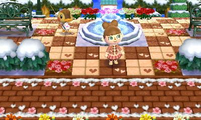 brown brick paths with melted snow and hearts on sides どうぶつの森 雪 とびだせどうぶつ の森