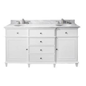 Windsor White Undermount Double Sink Poplar Bathroom Vanity With Natural Marble Top Common 61 In X 23 In With Images 60 Inch Vanity Vanity Combos White Vanity Bathroom