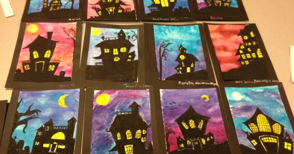 Middle school spooky houses art teacher in la for Arts and crafts lesson plans for middle school