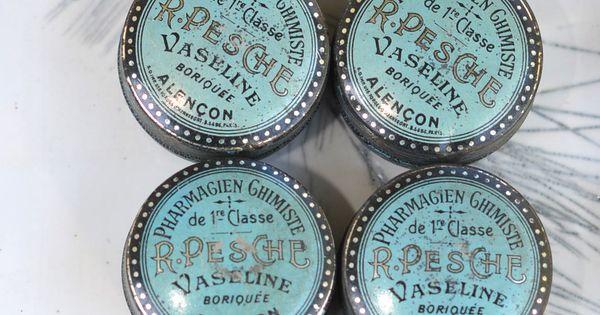 Vintage vaseline tins from France. www.chalkfarmhome.com  shop disply  Pinterest