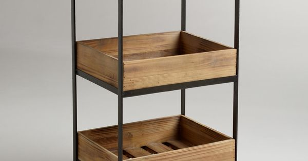 Bathroom storage discovery at WorldMarket.com: 4-Shelf Wooden Gavin Rolling Cart