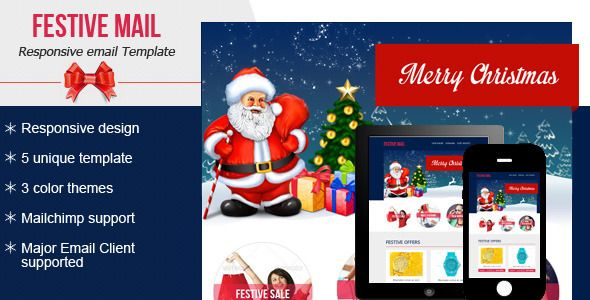 Festive4 Email Newsletter By Bluenila Festive4 Email Newsletter Is A Clean And Minimal Res Responsive Email Template Email Marketing Template Email Newsletters