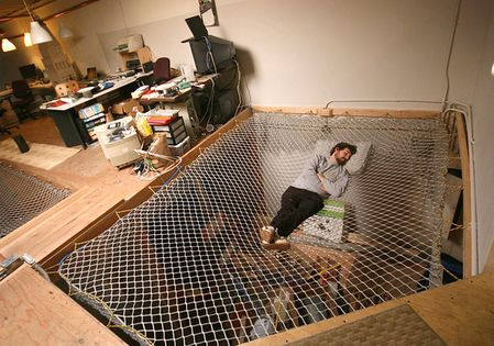 mesh hammock over a living space OMG THIS IS THE BEST IDEA