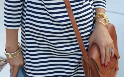 Striped Dress + Denim + Leather Crossbody. Put With some tall riding