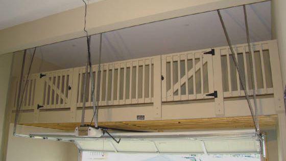 Garage loft with safety railing double access gates get organized pinterest garage loft - Garage storage loft plans collection ...