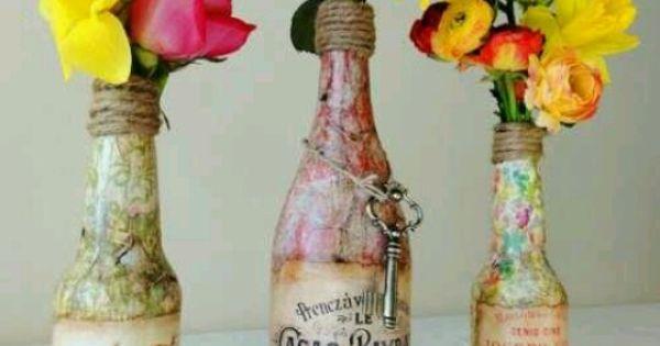Decopage bottles and colors deko pinterest for Leere flaschen dekorieren