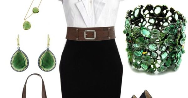 Work/business attire. Green color slash accessories. White short sleeve shirt with brown