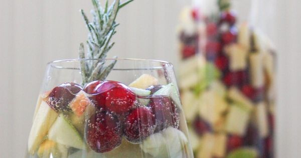 "{holiday sangria} cranberry rosemary white ""christmas"" sangria"