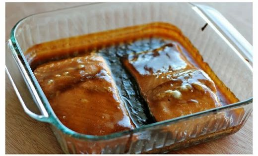 Yum! Teriyaki Salmon with Sriracha Cream Sauce - An easy dish with