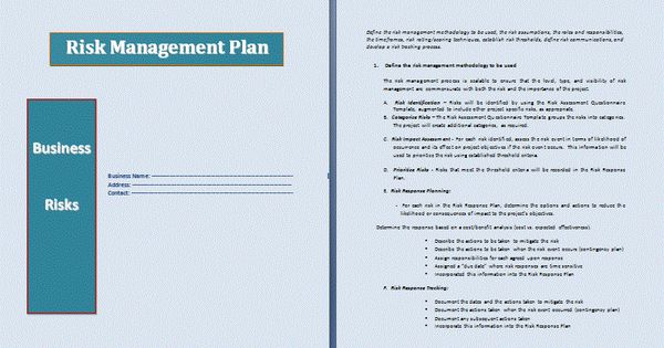 Risk Management Plan  Risk Management Plan Template