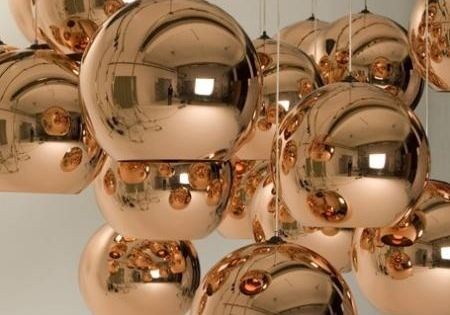 Tom Dixon copper pendant lights... stunning.