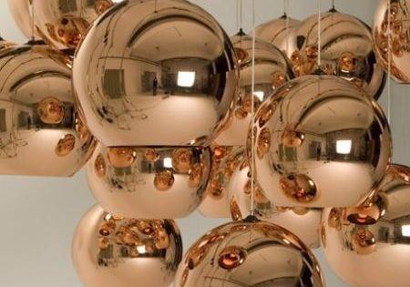 Tom Dixon copper pendant lights... stunning.