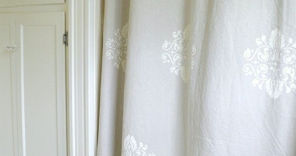 How To Stencil A Drop Cloth Shower Curtain Pennies Stenciling And Drop