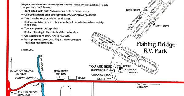 Fishing bridge rv campground map yellowstone national for Fishing bridge campground