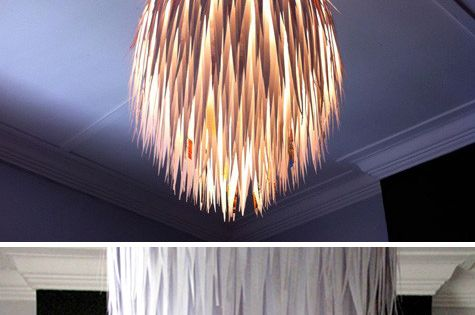 Scrap paper light fixture with Regolit paper lamp.