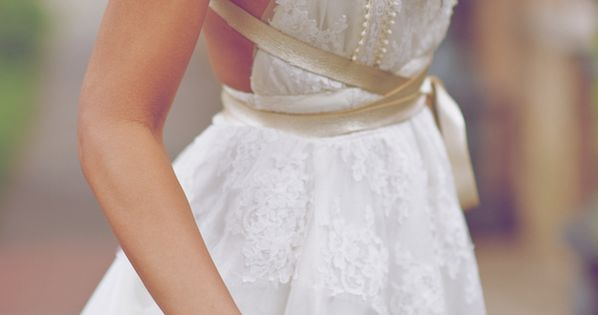 The way the off-white sash accents this dress. | 50 Gorgeous Wedding
