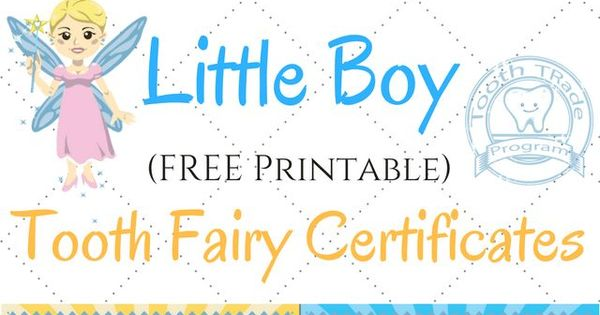 Printable Tooth Fairy Certificate For Boys
