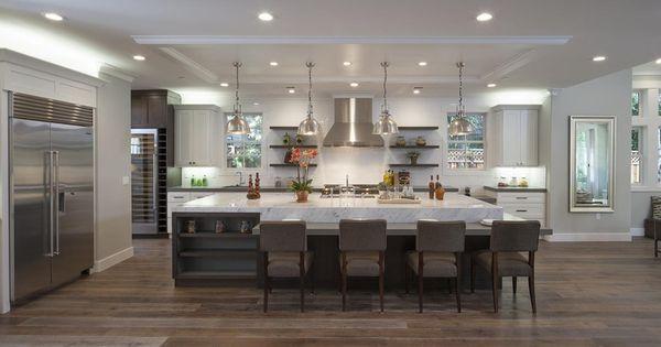 Contemporary Kitchen With Restoration Hardware Harmon Pendant Light, Wine Refrigerator
