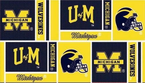 Ncaa Michigan Wolverines Squares Yellow Blue Cotton Quilting Fabric Michigan Fabric Store