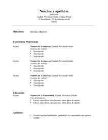 Modelo Resume Estandar Espanol En 2020 Con Imagenes Modelos