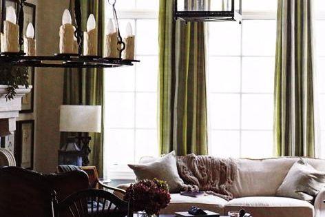 Green Silk Curtains Transitional Living Room Living Room